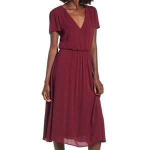 WAYF | burgundy blouson midi dress